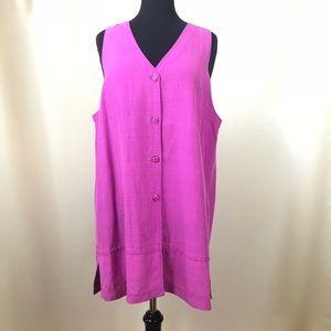 Silk Button Down Tunic Shirt Sleeveless Pink Sz M